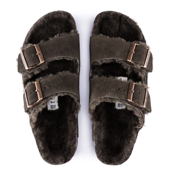 Birkenstock Arizona Shearling Suede Leather Mocha 730ec55655b